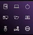hardware icons line style set with folder router vector image vector image