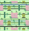 hawaii resort buildings seamless pattern vector image vector image