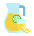 jug and glass with lemonade icon flat isolated vector image