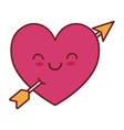 kawaii love heart arrow valentin vector image