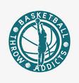 logo design basketball throw addicts with vector image
