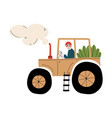male farmer driving tractor with seedlings vector image vector image