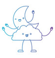 moon and cloud kawaii caricature in color gradient vector image