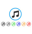 music notes rounded icon vector image vector image