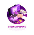 online banking isometric round composition vector image vector image