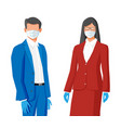 people wearing virus protection face mask vector image