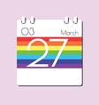 Rainbow Calendar icon vector image