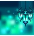 Ramadan lantern shiny background vector image vector image