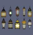 ramadan old lanterns and lamps of arabic style vector image vector image