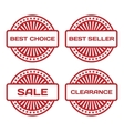 Red Rubber Stamp Set Sale best seller best choice vector image vector image