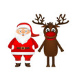 santa claus and reindeer on white background vector image