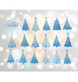 set blue christmas tree doodles on white vector image vector image