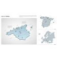 set spain country isometric 3d map spain map vector image vector image