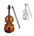 sketch contrabass violin music instrument vector image vector image