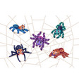 spider on web cartoon tarantula characters vector image