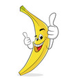 super banana thumb up best cartoon style vector image