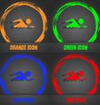 Swimming sign icon Pool swim symbol Sea wave vector image vector image