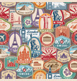 travel pattern immigration stamps stickers vector image vector image