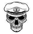 vintage naval skull drawing and captain hat vector image vector image