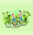 young couple on bicycle in the park vector image vector image