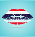 thailand flag lipstick on the lips isolated on a vector image