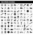 100 iron icons set simple style vector image vector image
