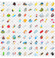 100 light icons set isometric 3d style vector image vector image