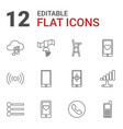 12 mobile icons vector image vector image