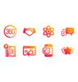360 degrees happy emotion and handshake icons set