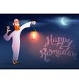 Arabic man keeps illuminated colorful ramadan