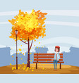 autumn happy girl sitting on a bench with a cup vector image vector image