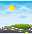 beautiful view of the paved road hill cloud sun vector image