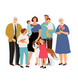 big family with pet vector image vector image