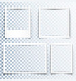 blank white frames with realistic drop shadow vector image vector image