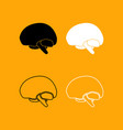 brain set black and white icon vector image vector image