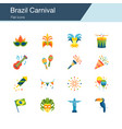 brazil carnival icons flat design vector image