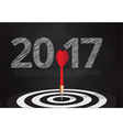 bulls eye hit the target on dartboard vector image vector image