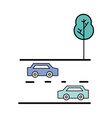 cars transportation in the double via road and vector image