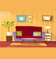 cartoon living room apartment interior vector image vector image