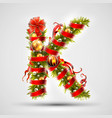 christmas font letter k of christmas tree vector image