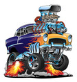 classic hot rod muscle car cartoon vector image vector image