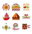 colorful mexico logotypes set vector image vector image