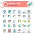 communication icons set filled outline vector image