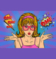 confusion omg glamour woman with glasses vector image vector image