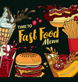 cover for fast food menu in retro style vector image vector image