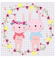 cute cartoon rabbit bunny couple in floral frame vector image vector image