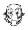 cyborg robot head engraving vector image