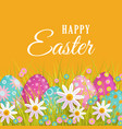 easter spring poster with eggs flowers vector image