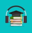 electronic audio learning or studying online vector image
