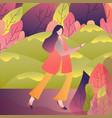 female walking alone enjoy refreshing outdoor vector image